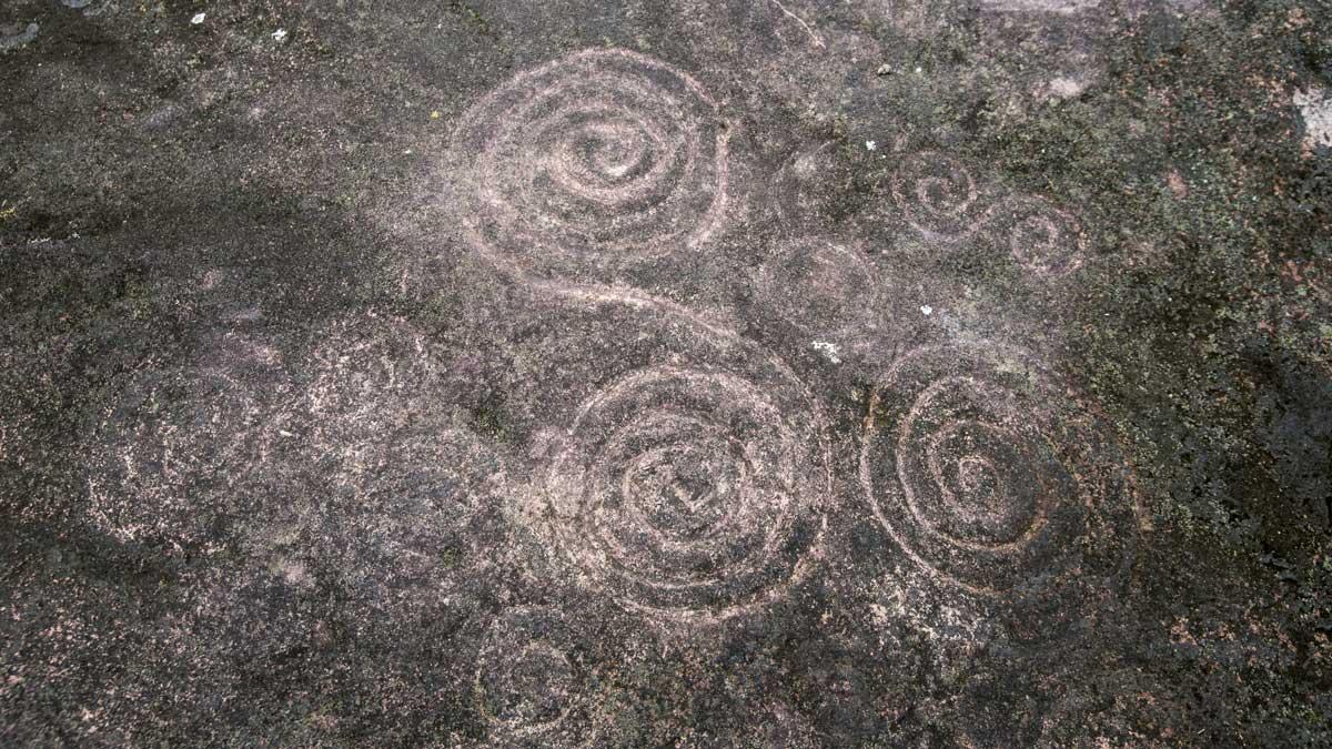 Spiral Petroglyphs in Guizhaguiña, Cascada Plano Rumi, Ecuador   ©Angela Drake