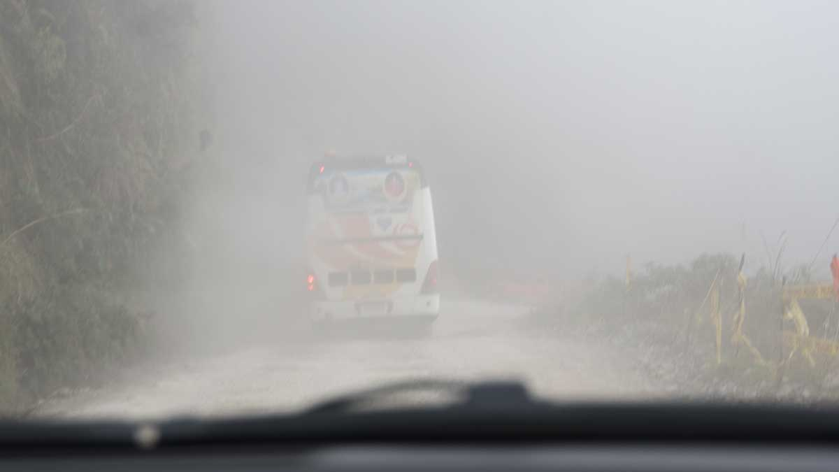 Following a bus on Highway 594 in Southern Ecuador | ©Angela Drake