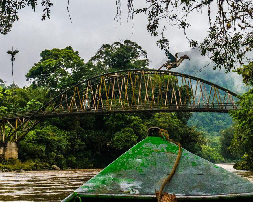 Just upstream from the Cabanas Yankuam, this bridge celebrates a local Shuar legend. | ©Ernest Scott Drake