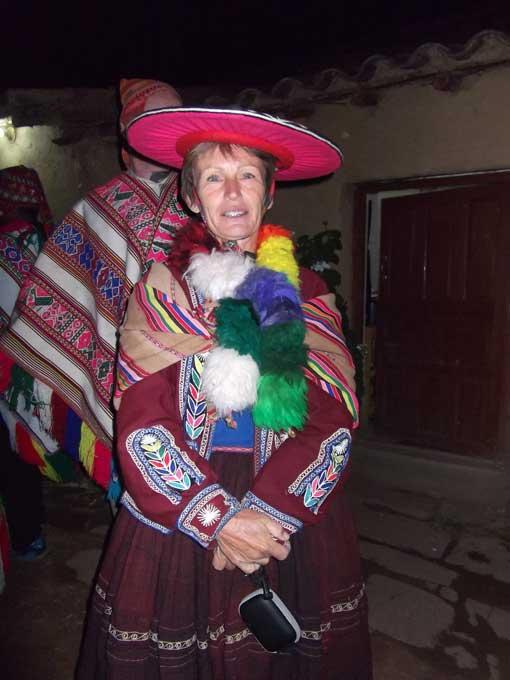 Author dressed in traditional clothing, Raqchi, Peru | ©Eleanor Hughes