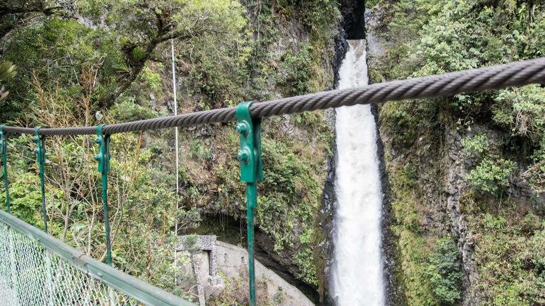 View of Pailon del Diablo from the Pedestrian Bridge, Isla del Pailon, Rio Verde, Ecuador   ©Angela Drake