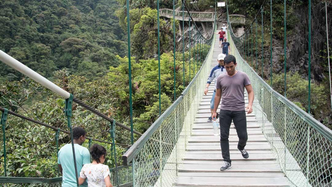 Pedestrian Bridge, Isla del Pailon, Rio Verde, Ecuador   ©Angela Drake
